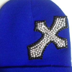 Blue Embellished Winter Beanie